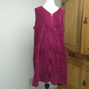 Serenada magenta velour cover-up/robe, sz 14/16